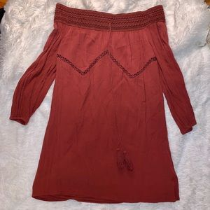 Off the shoulder Burgundy dress!